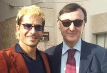 Marco Bocci sul set de La Banda dei Tre con il presidente della Film Commission Antonio Paris