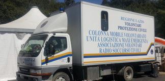 Uno dei mezzi della protezione civile di Tivoli impegnati sul terremoto