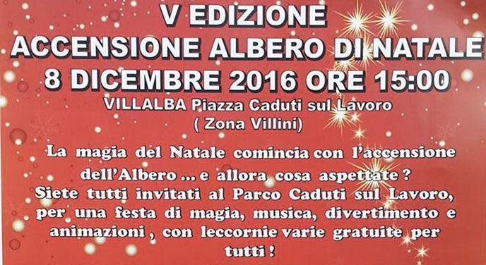 Natale a Villalba, si accende il grande albero ai Villini