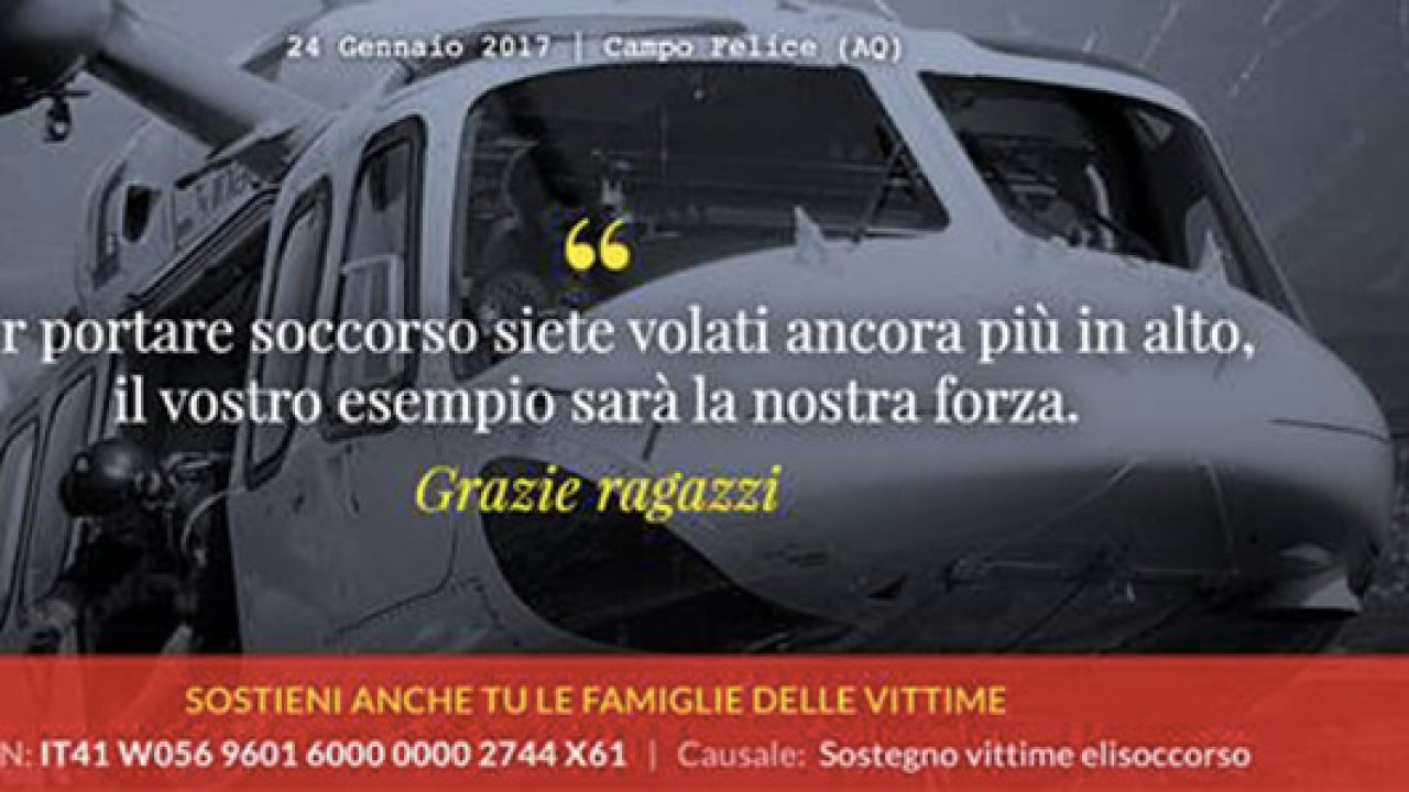 Incidente elicottero Campo Felice: raccolta fondi per i ...