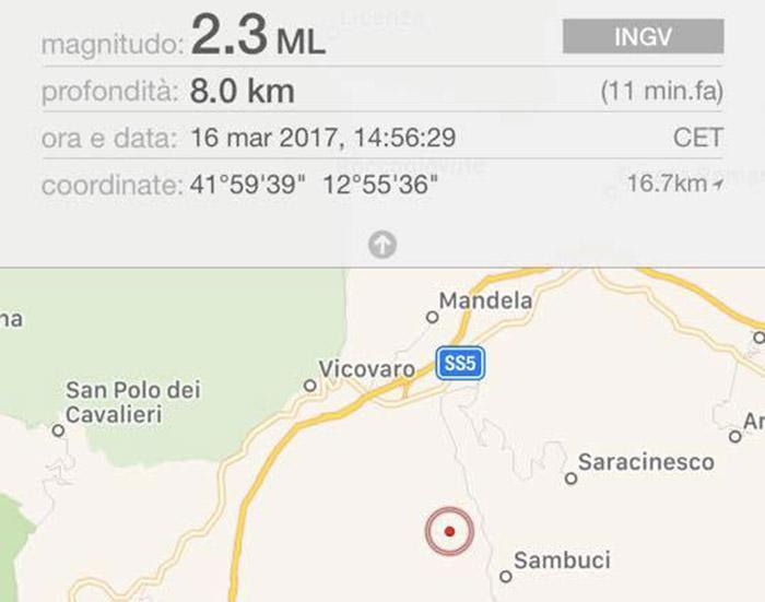Terremoto a Vicovaro, lieve scossa