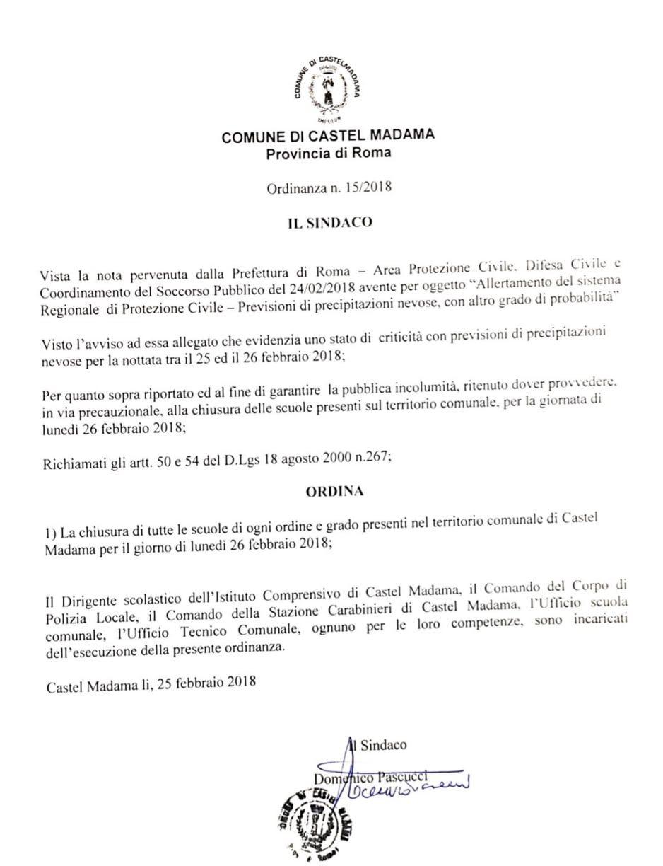 Domani scuole chiuse a Castel Madama. Burian sta per arrivare sull'Italia ed è scattata l'allerta meteo per le conseguenze che porterà il gelido vento freddo della Siberia.