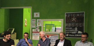 Da sinistra Gabriele Simonelli, Art 1 Leu, Giuseppe Di Tomassi, Verdi, Marino Capobianchi, Alleanza per Tivoli, Piero Ambrosi, PD, Marco Sciatore, La Città in Comune