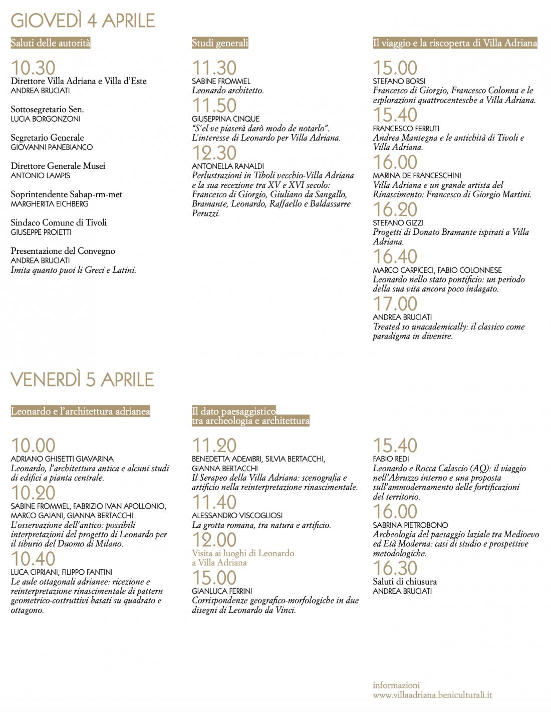 Il programma della due giorni dedicata a Leonardo Da Vinci