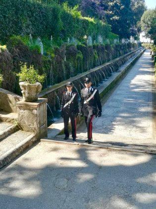 Carabinieri alle Cento Fontane a Villa d'Este