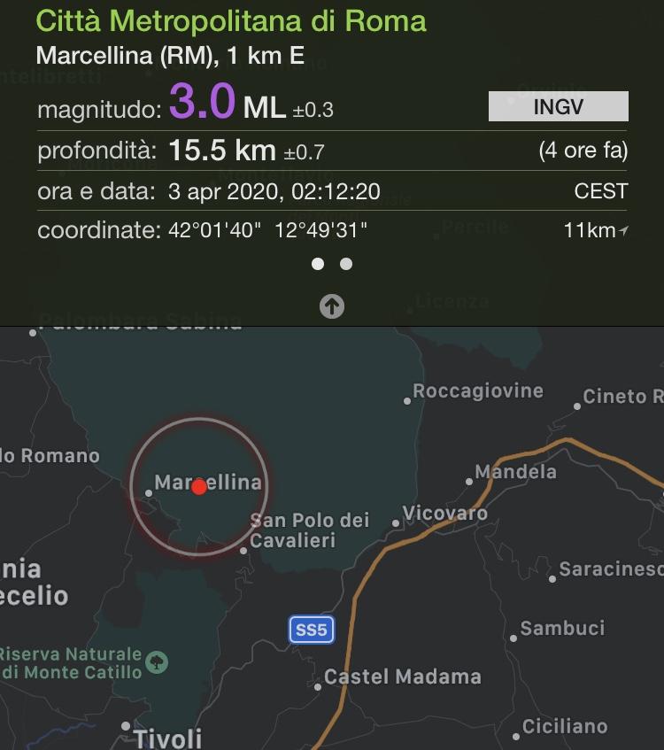 La scossa di terremoto tra Marcellina e San Polo dei Cavalieri